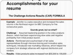 Developing WOWAccomplishments for yourresume The Challenge-Actions -Results  . Customer Service Resume Samples ...
