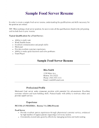 Bar Server Resume Sample Template Examples For Professional