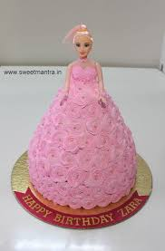 Barbie Doll Theme Fresh Cream Cake For Baby Girls 1st Birthday