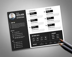 Graphic Design Portfolio Psd File Free Download Free Black Landscape Resume Cv Design Template Psd File
