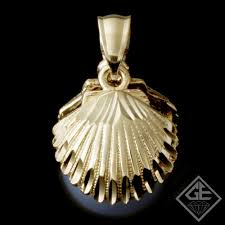 las 14k yellow gold shell design pendant with black tahitian baroque pearl