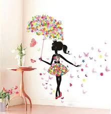 girls wall stickers erfly girl removable wall art sticker vinyl decal room home mural decor kids