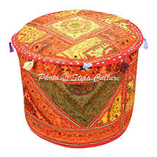 Stylo Culture Decorative Bohemian <b>Patchwork Pouf</b> Cover <b>Round</b> ...