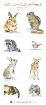woodland animals nursery wall art