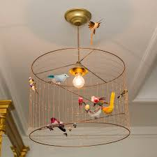 copper bird cage chandelier