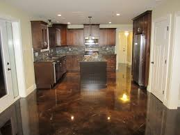 Awesome Stained Concrete Floors Ideas : Terrific Stained Concrete Floors  Ideas With Wooden Kitchen Decor
