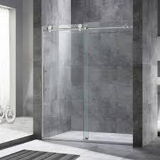 woodbridge frameless sliding shower door 56 60 width 76 height 3 8 10 mm clear tempered glass brushed nickel finish designed for smooth door