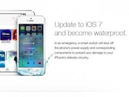 apple iphone 7 ad. fake apple ad says ios 7 will make your iphone waterproof and people fell for it iphone