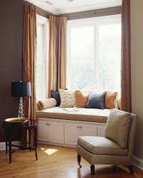bay window curtain rods living room contemporary with accent table accent wall alcove bay window