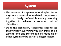 management information system topics system information system  2 system the concept of a system in its simplest form a system is a set of interrelated components a clearly defined boundary working together to