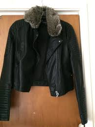 women s faux leather jacket with fur collar top size 12