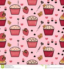Seamless Pattern With Cupcakes Cupcakes Background Pink Background