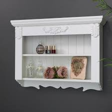 details about ornate white painted wooden wall shelf unti vintage shabby chic shelving display