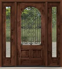 rustic entry doors with wrought iron and clear glass