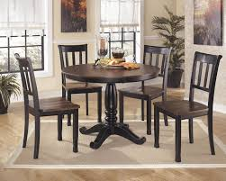round glass top dining table set w 4 wood back side chairs round dining table and