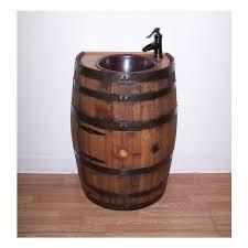 reversible reclaimed wine barrel. Whiskey Barrel Half Vanity Dark Copper Sink Bronze Faucet Access Reversible Reclaimed Wine G