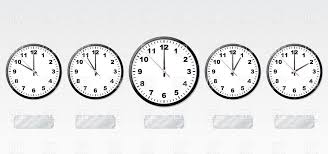 office clocks. Office Clocks And Shiny Silver Metal Labels For Time Zones Royalty Free Vector Clip Art W