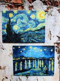 oil painting starry night van gogh free copy happyfingers