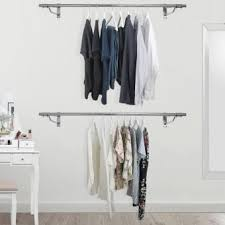 Wall mounted clothing rails Tube Wall Mounted Clothes Hanging Rail 1220mm Displaysense Wall Mounted Clothes Rails Displaysense