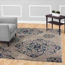 jasmin collection contemporary medallion design gray and ivory 5 ft x 7 ft area