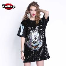 7Mang <b>2019 Summer</b> Streetwear <b>Mickey</b> Mouse Sequins Mesh T ...