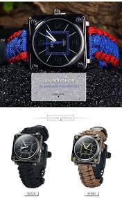 outdoor sport men watch survival gear escape cord emergency package contents 1 x paracord outdoor watch survival compass whistle fire starter watchband bracelet htb1dd0rjfxxxxcbxxxxq6xxfxxxd