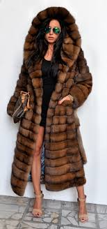 sable furs long sable fur coat with big hood