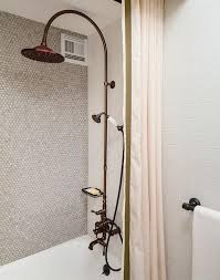 gray penny tiles on shower wall