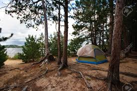 camping in the woods. Modren The Stock Photo  Tent Camping Campsite In The Woods Off Beach  Wilderness To In The D