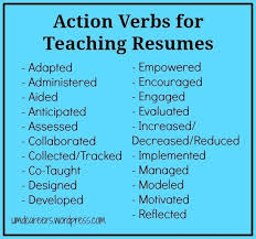 Words To Use On A Teaching Resume Other Than Taught | Resume within Action