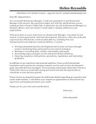 Restaurant Cover Letter Manager Sample For Resume District Uk