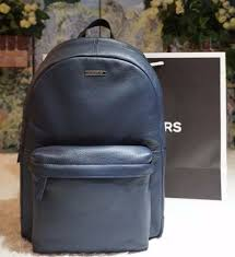 nwt michael kors men s stephen backpack bag navy leather with nylon trim 498
