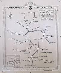 Original Automobile Association Mileage Chart Showing Dist