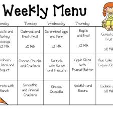 Weekly Menu Sample Daycare Menu Templates | Preschool | Pinterest | Daycare ...