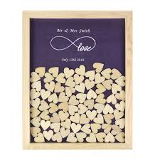 Wedding Guest Book Personalized Rustic Hearts Filled Wooden Wedding Guest Book Frame