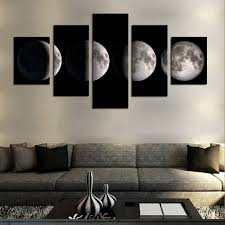 Frame For Living Room 5 Pieceno Framemoon Modern Home Wall Decor Canvas Picture Art Hd