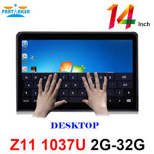 14 inch desktop 10 points capacitive touch screen monitor with celeron 1037u industry all in