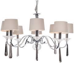 8 arm nickel and black crystal chandelier