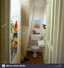 open door to attic bathroom with toilet and colourful plastic shower curtain