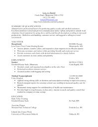Medical Transcriptionist Cover Letter Examples Medical