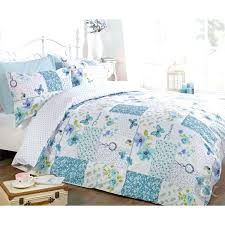 erfly fl patchwork duvet cover reversible white teal blue bedding set teal blue white green and