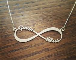infinity necklace white gold. 2 names 14k white gold infinity necklace / personalized name forever 0