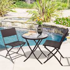 folding patio table and chair set. Plain Patio GOPLUS 3PCS Wicker Rattan Outdoor Dinning Table Chair Set Patio Furniture  Folding Backyard Ratten Garden For Home HW51711in Sets From  Throughout And L