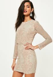 Pink Lace Long Sleeve Double Layer Bodycon Dress Missguided Ireland