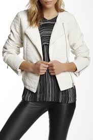 image of vince camuto collarless asymmetrical zip faux leather jacket