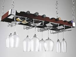 hanging wine rack with glass holder solid wood bottle and stainless steel chains cast iron bar