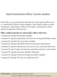 Top 8 School Police Officer Resume Samples