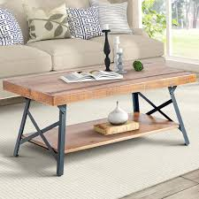 harper bright designs wf036984daa 43 lindor collection wood coffee table with metal legs living room set rustic brown 43 3 l x 21 65 w x 18 34 h