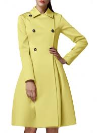 double ted turn down collar slim fit trench coat