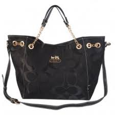 Coach Chelsea In Signature Medium Black Totes Outlet Free Shipping